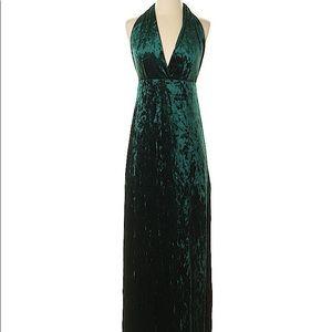 Green velvet halter maxi dress